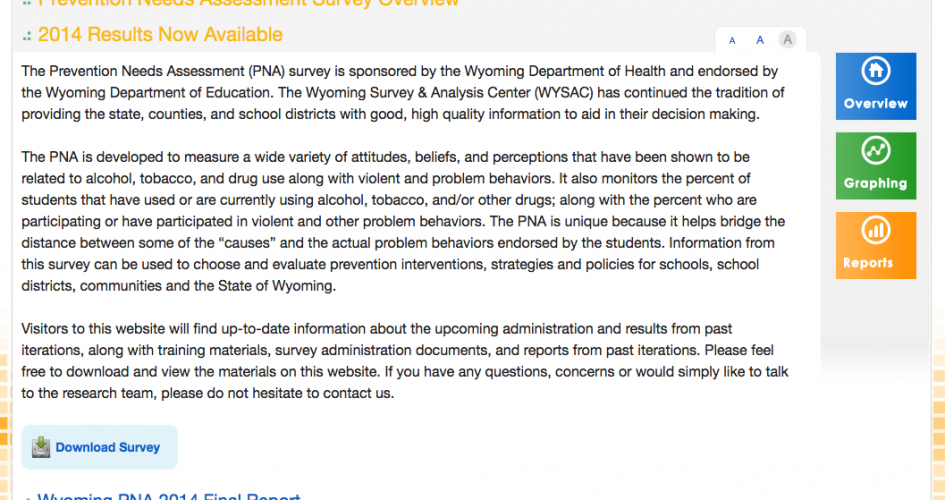 Screenshot of the Wyoming PNA Survey website