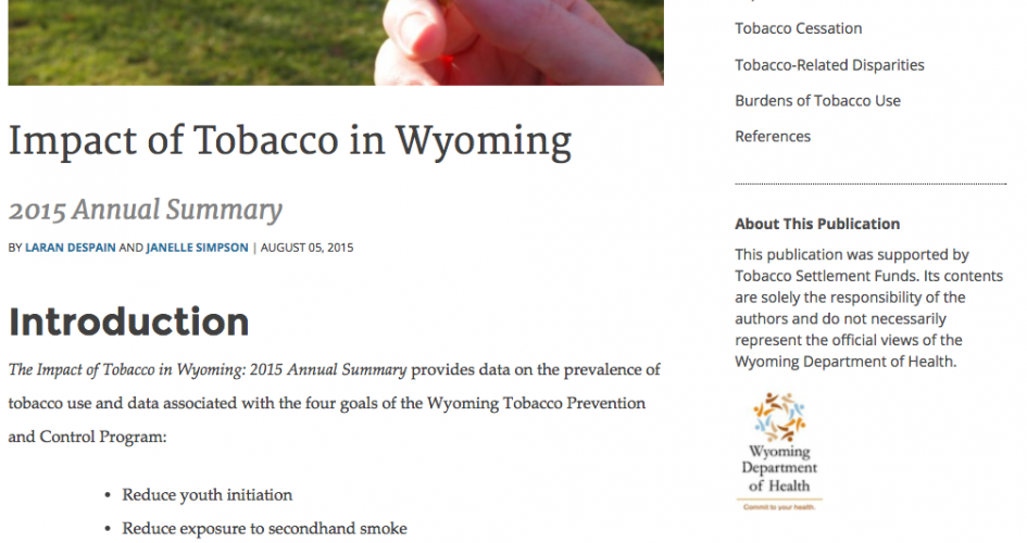 Screenshot of the Wyoming Tobacco Prevention Website
