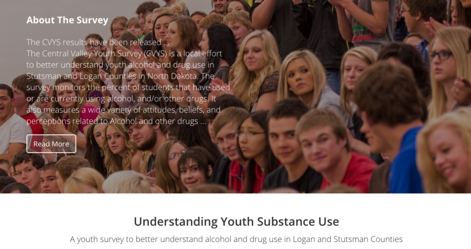Screen shot of the North Dakota Central Valley Youth Survey Website